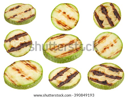 Grilled zucchini round slice isolated on white background