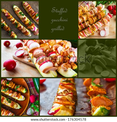 Grilled zucchini with stuffing. Collages of preparation - stock photo