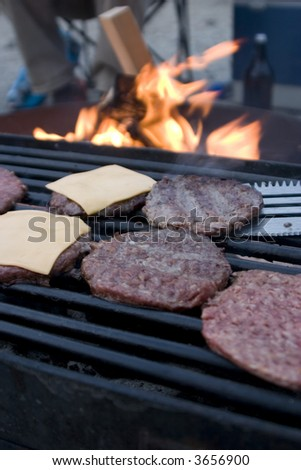 grilling burgers - stock photo