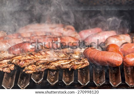 Grilling close up with sausage