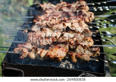 Grilling the delicious marinated pork meat shashlik on a grill. Shashlik is a form of Shish kebab. - stock photo
