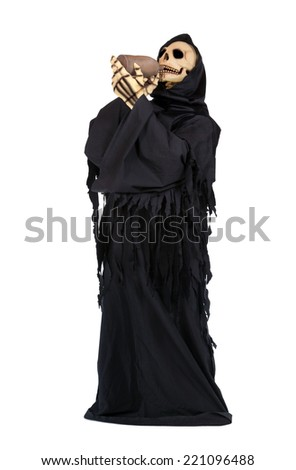 Grim Reaper drinks from a clay pitcher - stock photo