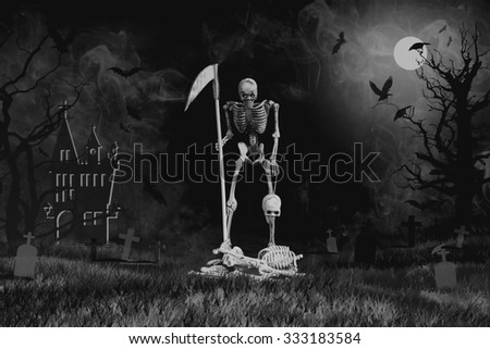 Grim reaper from hell rid misbehave soul in Halloween night, Style Black and white - stock photo