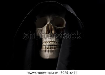 Grim Reaper, human skeleton, death - stock photo
