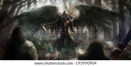 grim reaper in the forest - stock photo