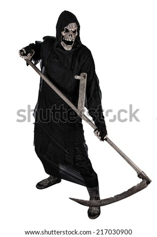 Grim reaper on a white background, halloween background. - stock photo