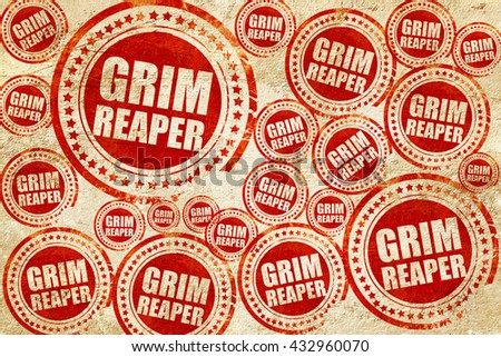 grim reaper, red stamp on a grunge paper texture - stock photo