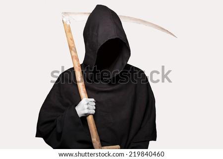 Grim reaper. Studio portrait isolated on white background    - stock photo