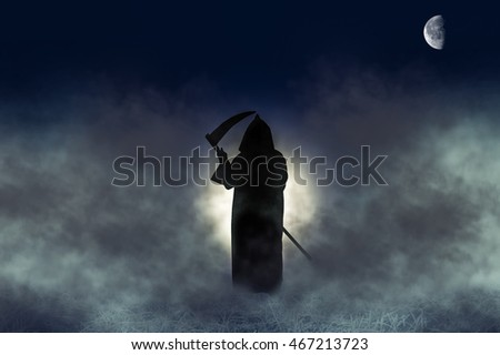 Grim Reaper, the death itself, in fog holding scythe. (none of this image is furnished by NASA)