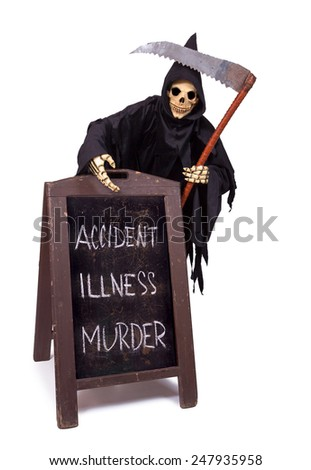 Grim Reaper with menu on white background - stock photo