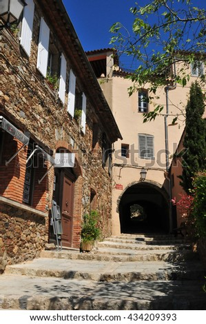 Grimaud, France - april 16 2016 : the picturesque historical village