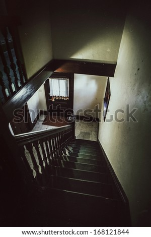 Grimy old staircase - stock photo