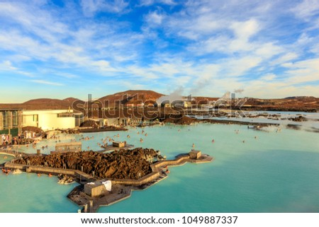 GRINDAVIK, ICELAND - FEB 26: People bathing in The Blue Lagoon on Feb 26, 2014 in Grindavik, Iceland. Blue Lagoon is most popular spa and geothermal bath resort in Iceland.