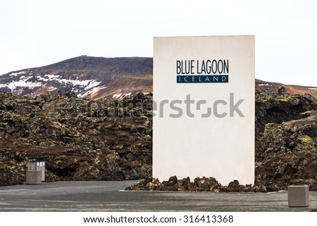GRINDAVIK, ICELAND - FEBRUARY 6, 2014: Entrance to the Blue Lagoon, a touristic geothermal spa in Grindavik, Iceland, on February 6, 2014 - stock photo
