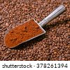 Grinded coffee in vintage scoop on beans - stock photo