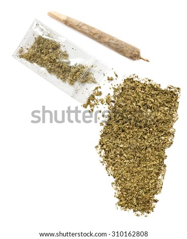 Grinded weed shaped as Alberta and a joint.(series) - stock photo