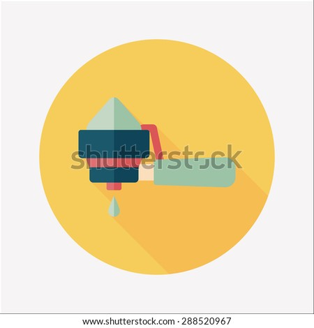 grinding coffee machine flat icon with long shadow