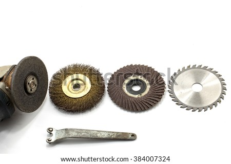 grindstone abrasive disc cutter machine isolated on white background - stock photo