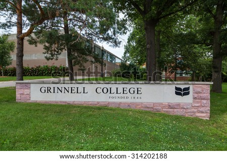 GRINNELL, IA/USA - AUGUST 8, 2015: Entrance sign on the campus of Grinnell College.  - stock photo