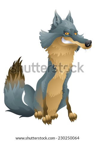 Grinning wolf cartoon illustration - stock photo