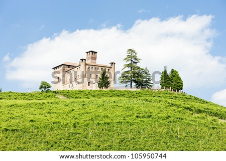 Grinzane Cavour Castle with vineyard, Piedmont, Italy - stock photo