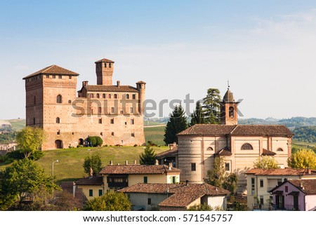 Grinzane Cavour, Italy - 2016, September 27 : The village of Grinzane Cavour in the Piemonte region of Italy with its castle in the background