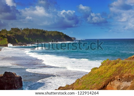 Gris Gris cape on South of Mauritius. Big waves in the absence of a reef. - stock photo