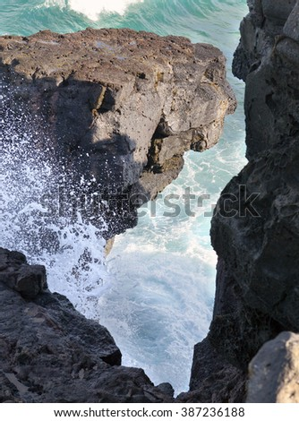 Gris Gris cape on South of Mauritius. The wave breaks against neighboring rocks - stock photo