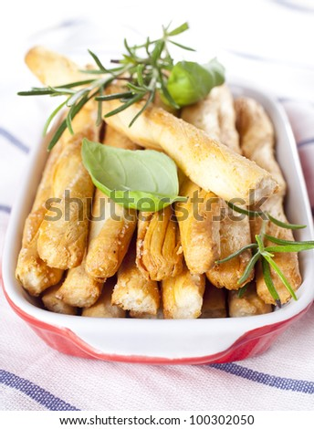 Grissini with herbs - stock photo