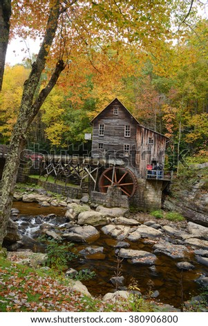 grist mill landmark of west viginia in autumn
