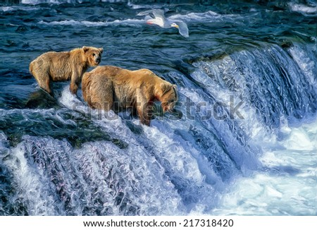 Grizzly bear with her cub at Alaska waterfall - stock photo