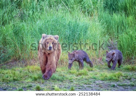 Grizzly bear with two cubs, digital oil painting - stock photo