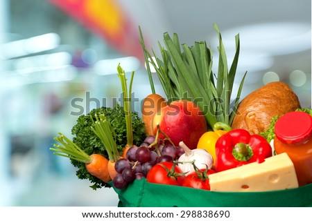 Groceries, Bag, Fruit. - stock photo