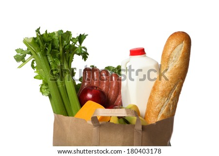 Groceries in Paper Bag - stock photo