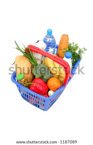 Groceries in Shopping Basket - stock photo