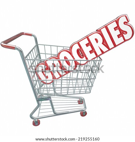Groceries word in red 3d letters in a grocery store shopping cart to illustrate buying produce, food and other products you need - stock photo
