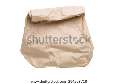 grocery paper bag on a white background