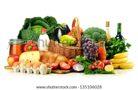 Grocery products including vegetables, fruits, dairy, bread and drinks isolated on white - stock photo