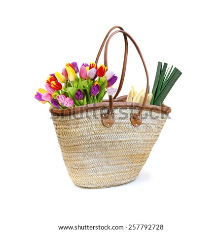 grocery shopping basket - stock photo