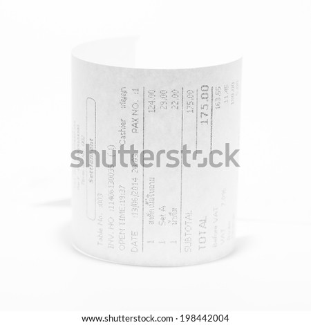 Grocery shopping list on a till roll printout - stock photo