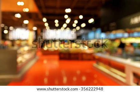 Grocery store blurred background with bokeh - stock photo