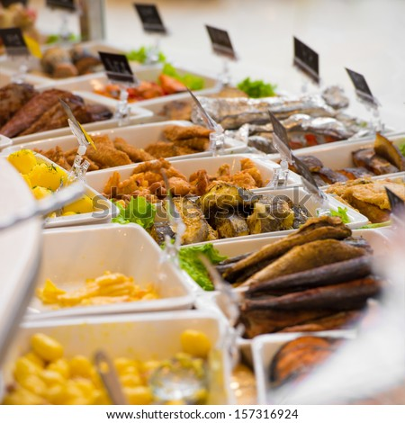 Grocery store. Different served meals on sale - stock photo