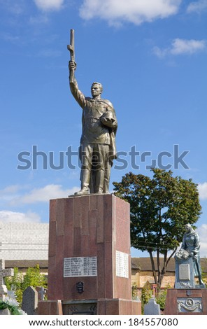 GRODNO, BELARUS - SEPTEMBER 02, 2012: Soviet Memorial to honor the fallen Red Army soldiers during the Second World War at cemetery in Grondo, Belarus.