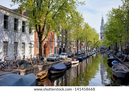 Groenburgwal canal in the old city of Amsterdam, Netherlands, North Holland province. - stock photo