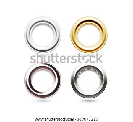 Grommets set isolated. Metal, brass, steel, gold, silver eyelets. Banner washers, curtain clips. Grommet ring design. Chrome cringles. Card, label, tag earrings. Brace steel ciclet. Grummet ear block. - stock photo