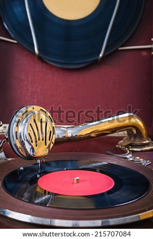 gromophone close up view - stock photo