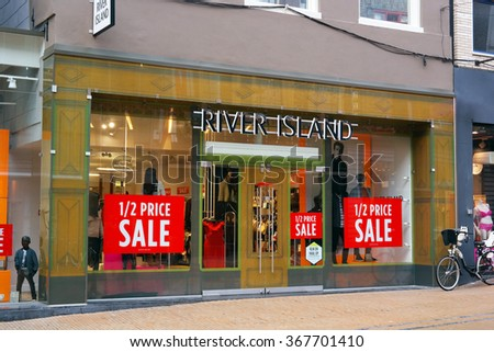 GRONINGEN, NETHERLANDS - JANUARY 11: Store front of a River Island branch. River Island is a high street fashion brand, operates worldwide. Taken in Groningen, The Netherlands on January 11, 2016. - stock photo