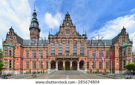 GRONINGEN, NETHERLANDS - MAY 25, 2015: Academiegebouw (Main building) of the University of Groningen. The building was built in 1907-1909 by design of the Chief Government Architect Jan Vrijman. - stock photo