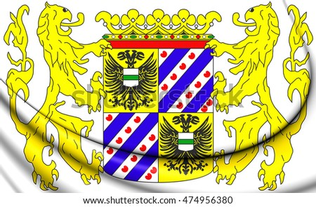 Groningen Province Coat of Arms, Netherlands. 3D Illustration.