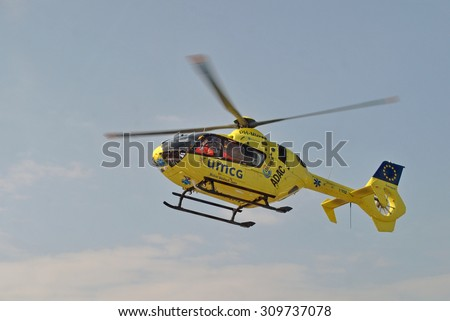 GRONINGEN, THE NETHERLANDS, 21 August 2015 - Dutch ambulance helicopter (trauma helicopter) on its way UMC Groningen. - stock photo